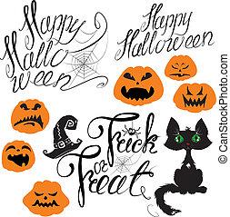conjunto, de, halloween, elementos, -, calabaza, gato, araña, y, otro, terri