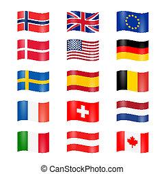 conjunto, de, hecho pivotar, país, banderas
