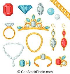 conjunto, de, hermoso, joyas, y, precioso, stones.