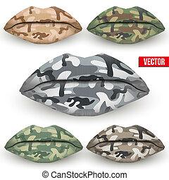 conjunto, de, hermoso, labios, con, camo, texture., vector, illustration.