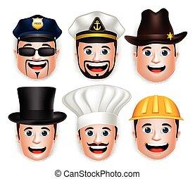 conjunto, de, hombre, cabeza, con, sombreros, y, tapas
