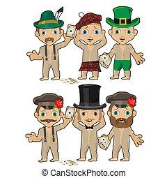 conjunto, de, hombres jóvenes, en, vario, sombreros, aislado, blanco, fondo., vector, caricatura, primer plano, illustration.
