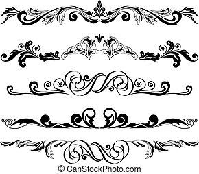 conjunto, de, horizontal, ornamentos, 2