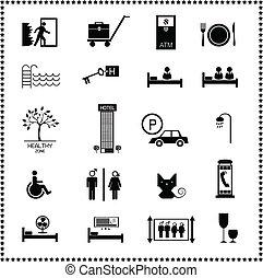 conjunto, de, hotel, iconos