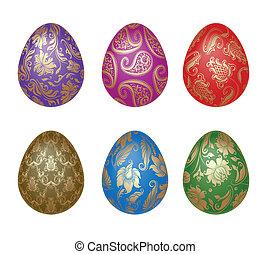 conjunto, de, huevos de pascua, con, ornamentos