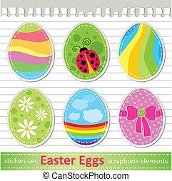 conjunto, de, huevos de pascua