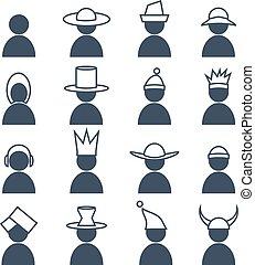 conjunto, de, humano, con, differents, tocado, icons.