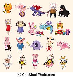 conjunto, de, iconos animales