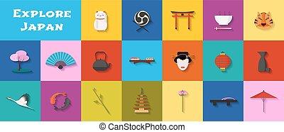 conjunto, de, iconos, con, japonés, señales, arquitectura, alimento, en, vector