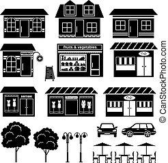 conjunto, de, iconos, de, casas, y, tiendas