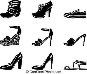conjunto, de, iconos, de, womanish, zapato