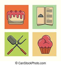 conjunto, de, iconos del alimento