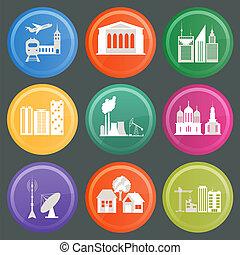 conjunto, de, iconos, infraestructura, ciudad