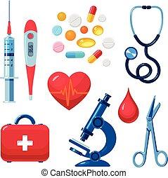 conjunto, de, iconos médicos, aislado, color, plano