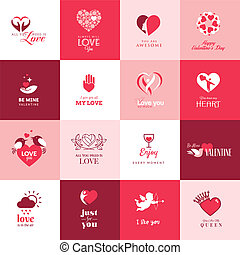 conjunto, de, iconos, para, día de valentines