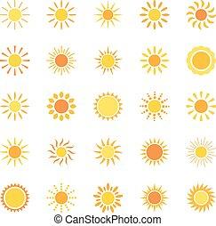 conjunto, de, iconos, sol, vector, ilustración