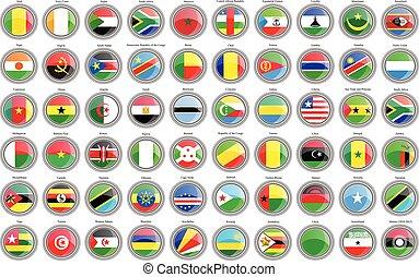 conjunto, de, icons., banderas, de, el, africano, countries.