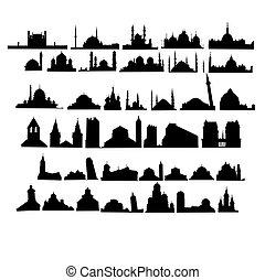 conjunto, de, iglesias, y, mezquitas