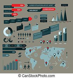 conjunto, de, infographic, elementos, con, mapa del mundo