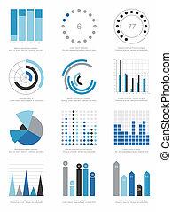 conjunto, de, infographics, elementos