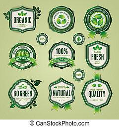 conjunto, de, insignias, y, etiquetas