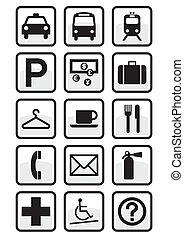 conjunto, de, internacional, servicio, signs.