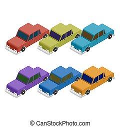 conjunto, de, isométrico, coche