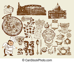 conjunto, de, italiano, símbolos