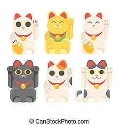 conjunto, de, japonés, gato afortunado, maneki, neko