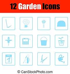 conjunto, de, jardinería, iconos