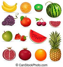 conjunto, de, jugoso, fruta, aislado