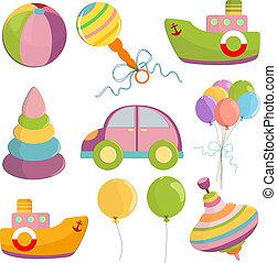 conjunto, de, juguetes, ilustración