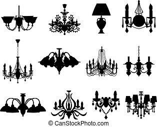 conjunto, de, lámparas, siluetas