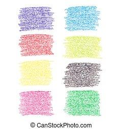 conjunto, de, lápiz de color, puntos