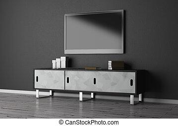 conjunto de la tv, con, vacío, monitor