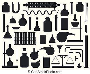 conjunto, de, laboratorio químico, equipo, silhouette., laboratorio, constructor, kit., vector, ilustración