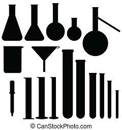 conjunto, de, laboratorio, siluetas, vector