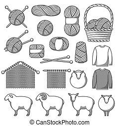 conjunto, de, lana, items., bienes, para, mano hecha, tejido...