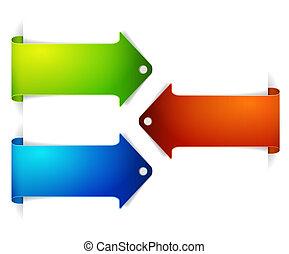conjunto, de, largo, colorido, flecha, bookmarks