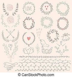 conjunto, de, laurel, floral, coronas, y, fr
