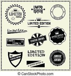 conjunto, de, limitado, edición, etiquetas