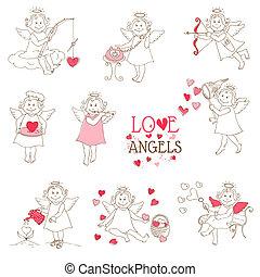 conjunto, de, lindo, ángeles, y, cupidos, -, amor, boda, valentino, tema, -, en, vector