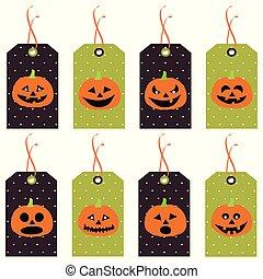 conjunto, de, lindo, halloween, calabazas, tags., vector, mano, dibujado, illustration.