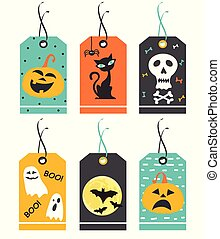 conjunto, de, lindo, halloween, tags., vector, mano, dibujado, illustration.