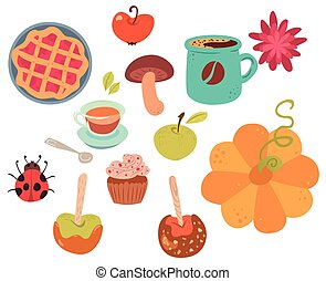 conjunto, de, lindo, otoño, alimento