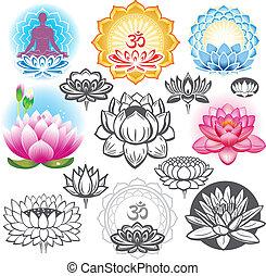 conjunto, de, lotuses, y, esotérico, símbolos