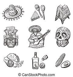 conjunto, de, méxico, vector, ilustraciones