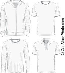 conjunto, de, macho, shirts., vector, ilustración
