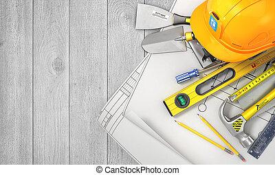 conjunto, de madera, concept., cima, ilustración, construcción, tabla, vista., herramientas, blanco, 3d