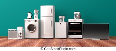 conjunto, de madera, ilustración, floor., aparatos, hogar,...